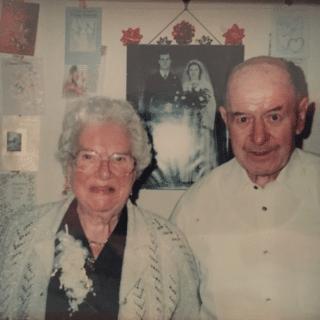 May with husband Albert on their Diamond Wedding Anniversary